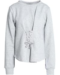 W118 by Walter Baker - Isabella Lace-up French Terry And Cotton-blend Poplin Sweatshirt - Lyst