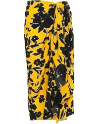 Michael Kors Printed Silk Crepe De Chine Wrap Skirt Yellow