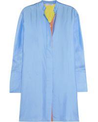 Jonathan Saunders - Motley Oversized Silk-twill Tunic Sky Blue - Lyst