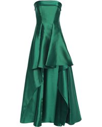 Badgley Mischka Strapless Asymmetric Pleated Faille Gown Emerald - Green