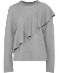 Diane von Furstenberg - Ruffled Knitted Sweatshirt - Lyst