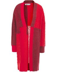 McQ Oversized Patchwork Knitted Cardigan Red