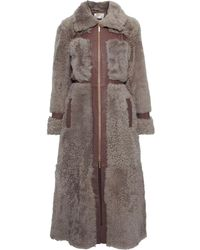 Zimmermann Tempest Leather-trimmed Shearling Coat Brick - Purple