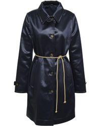 Brunello Cucinelli - Woman Belted Cotton-blend Satin Coat Indigo - Lyst