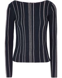 Theory - Striped Ribbed Stretch-knit Top - Lyst