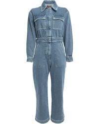 ALEXACHUNG Cropped Denim Jumpsuit Mid Denim - Blue