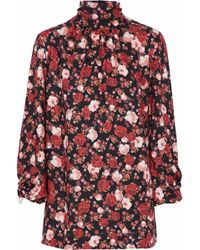 Mother Of Pearl - Wilma Faux Pearl-embellished Floral-print Twill Turtleneck Top - Lyst