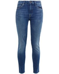 Mother The Looker Frayed High-rise Skinny Jeans Mid Denim - Blue