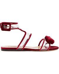 Valentino Garavani Bow-embellished Velvet And Pvc Sandals - Red