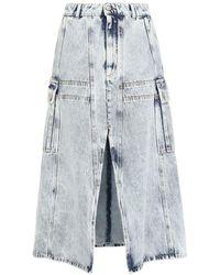 MM6 by Maison Martin Margiela Bleached Denim Midi Skirt - Blue