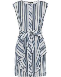 W118 by Walter Baker - Paul Ruffled Striped Cotton Mini Dress - Lyst