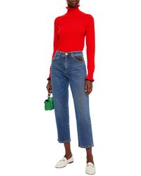 Vivetta Cropped Embellished High-rise Straight-leg Jeans Mid Denim - Blue