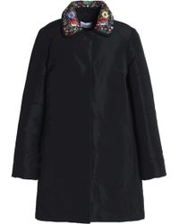 RED Valentino - Embroidered Crepe-trimmed Faille Coat - Lyst