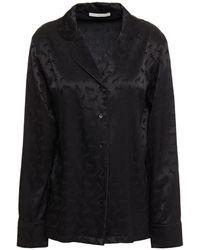 Stella McCartney Gloria Sprinting Silk-blend Satin-jacquard Pyjama Top - Black
