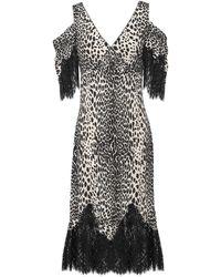 McQ Cold-shoulder Lace-trimmed Leopard-print Crepe De Chine Midi Dress Animal Print - Black