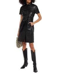 Walter Baker Chloe Belted Leather Mini Shirt Dress - Black