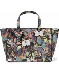 Valentino - Camu Butterfly Printed Leather Tote - Lyst