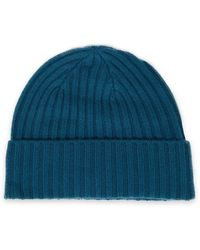 N.Peal Cashmere Ribbed Cashmere Beanie - Blue