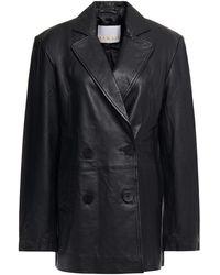 REMAIN Birger Christensen Debbie Double-breasted Leather Blazer - Black