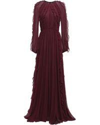 Giambattista Valli Ruffled Silk-georgette Maxi Dress Merlot - Purple