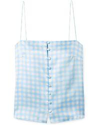 BERNADETTE Florence Gingham Silk-satin Camisole Light Blue