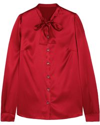 Dolce & Gabbana - Pussy-bow Silk-blend Satin Blouse - Lyst