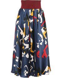 ROKSANDA Printed Stretch Knit-paneled Silk-satin Midi Skirt Navy - Blue