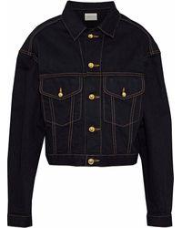 Simon Miller Keya Cropped Denim Jacket Dark Denim - Blue