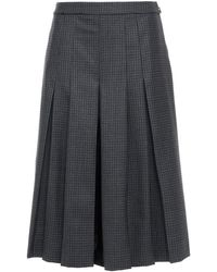 Maison Margiela Pleated Checked Wool And Silk-twill Culottes - Grey