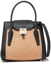 Michael Kors Bancroft Medium Leather And Straw Shoulder Bag Black