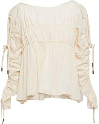 Carven Ruched Taffeta Blouse - White