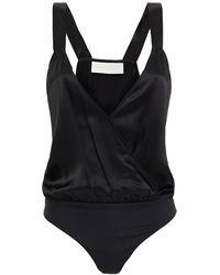 Michelle Mason Wrap-effect Silk-charmeuse Bodysuit - Black