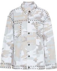 Cinq À Sept Chiara Studded Printed Denim Jacket Off-white - Multicolour