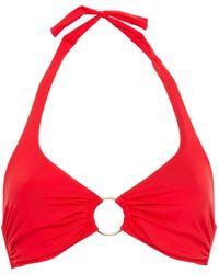 Melissa Odabash Brussels Ring-embellished Printed Halterneck Bikini Top - Red