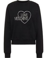 Love Moschino Crystal-embellished Cotton-blend Fleece Sweatshirt - Black