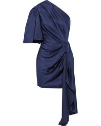 Solace London Marcie One-shoulder Knotted Hammered-satin Mini Dress - Blue