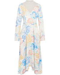 Vetements - Asymmetric Jersey-paneled Floral-print Crepe De Chine Midi Dress - Lyst