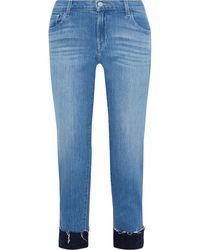 J Brand Jacquard-trimmed Frayed Mid-rise Slim-leg Jeans Mid Denim - Blue
