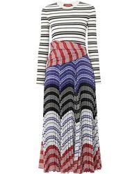 Altuzarra Woodbine Striped Ribbed-knit And Pleated Crepe De Chine Midi Dress - White