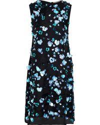 Mansur Gavriel Sur Gavriel Floral-appliquéd Silk-organza Mini Dress Black