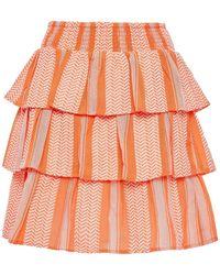 Cecilie Copenhagen Cecilie Copenhagen Tiered Cotton-jacquard Mini Skirt - Orange