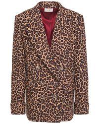 Sara Battaglia Double-breasted Leopard-print Crepe Blazer Animal Print - Brown