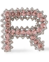 Rochas R Initial Crystal Embellished Brooch - Pink