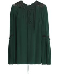 Vionnet - Lace-trimmed Washed-silk Blouse - Lyst