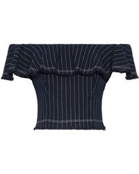 T By Alexander Wang - Off-the-shoulder Ruffled Pinstriped Cotton Top Midnight Blue - Lyst