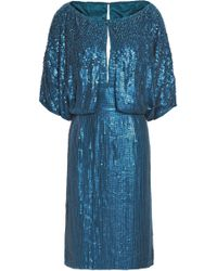 Jenny Packham - Woman Embellished Silk-georgette Gown Blue Size 10 - Lyst