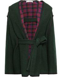 Philosophy Di Lorenzo Serafini Checked Wool-blend Hooded Coat Dark Green