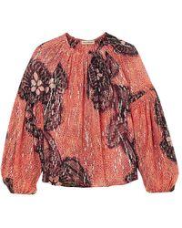 Ulla Johnson - Sanya Printed Fil Coupé Silk And Lurex-blend Blouse - Lyst