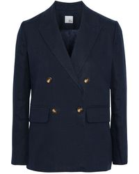Iris & Ink Ivy Double-breasted Linen Blazer - Blue