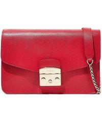 Furla Metropolis Textured-leather Shoulder Bag Red